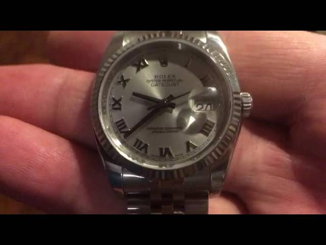 White Gold Fluted Bezel Stainless Steel 36mm Rolex Datejust -- 2007 **LATEST MODEL**